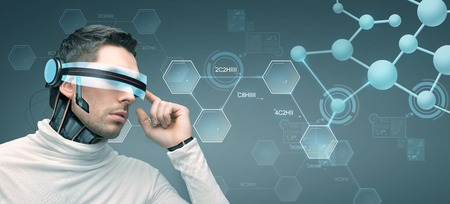 technological: people, technology, future and progress - man with futuristic 3d glasses and microchip implant or sensors over gray background and molecules with chemical formulas