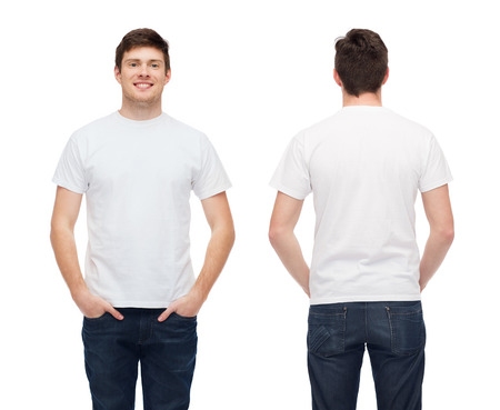 white man: t-shirt design and people concept - smiling young man in blank white t-shirt