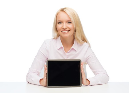 educator: education, business and technology concept - smiling businesswoman or student showing tablet pc computer blank screen over white background