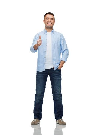 isolated man: happiness, gesture and people concept - smiling man showing thumbs up