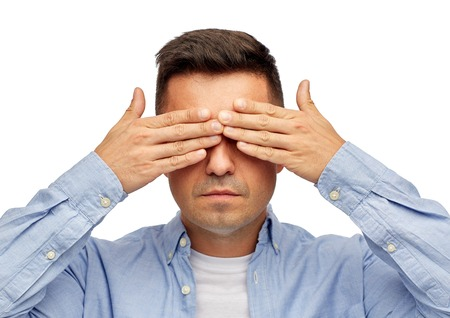 problem, sight, vision, stress and people concept - face of middle aged latin man covering his eyes with hand palms