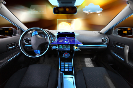 car navigation: transport, destination and modern technology concept - car salon with navigation system on dashboard and meteo sensor on windshield over night lights background