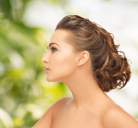 eco sensitive: health and beauty concept - face of beautiful bride with evening updo