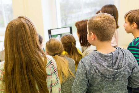 elementary school: education, elementary school, learning, technology and people concept - group of school kids with teacher looking to computer monitor in classroom from back
