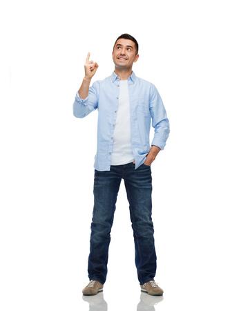 행복, 제스처와 사람들이 개념 - 남자 손가락을 가리키는 웃 고 스톡 콘텐츠