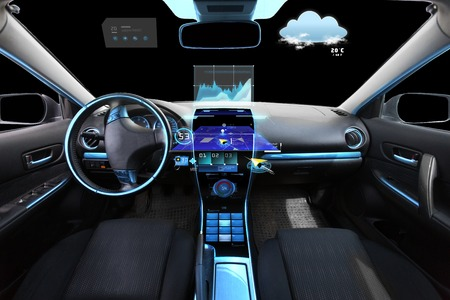 meteo: transport, destination and modern technology concept - car salon with navigation system on dashboard and meteo sensor on windshield