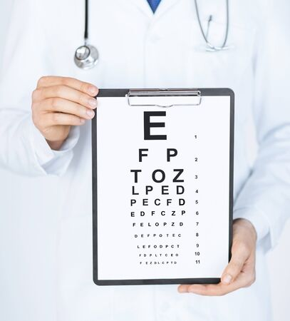 ophthalmologist: healthcare, medicine and vision concept - male ophthalmologist with eye chart