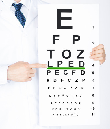 healthcare and medicine: healthcare, medicine and vision concept - male ophthalmologist with eye chart