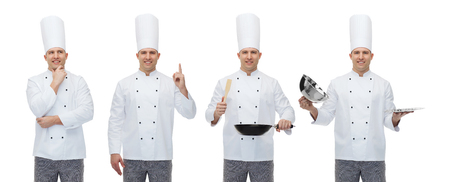toque: cooking, profession, inspiration, advertisement and people concept - happy male chef cook in toque holding kitchen utensils and pointing finger up