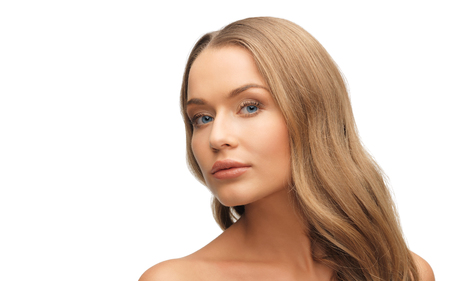 nude blonde woman: people, beauty and hair care concept - beautiful woman face with long blond hair