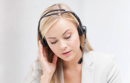 operator: female helpline operator with headphones and laptop