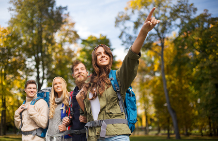 adventure, travel, tourism, hike and people concept - group of smiling friends walking with backpacks over natural background
