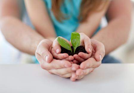 Close up de suelo padre y la niña con con brotes verdes en las manos ahuecadas en el hogar