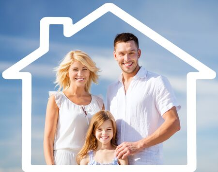 eco house: happy family over blue sky background and house shaped illustration