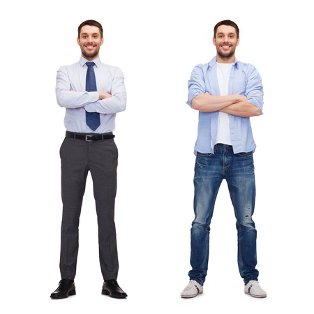young men: business and casual clothing concept - same man in different style clothes