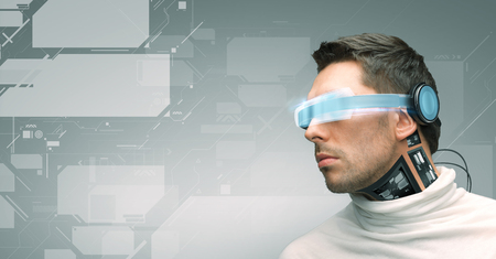 reality: people, technology, future and progress - man with futuristic glasses and microchip implant or sensors over gray background and virtual screens