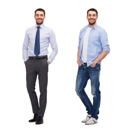 man style: business and casual clothing concept - same man in different style clothes