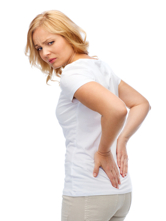reins: people, healthcare, backache and problem concept - unhappy woman suffering from pain in back or reins