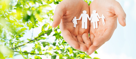 people, values and happiness concept - close up of man cupped hands showing paper family cutout over green natural background Stock Photo