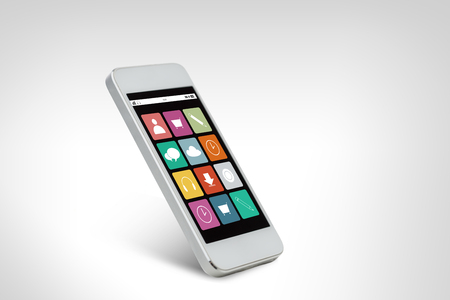 application icons: technology, electronics and advertisement concept - white smarthphone with application icons on screen