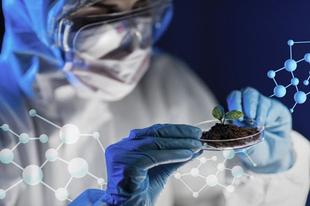 biologist: science, biology, ecology, research and people concept - close up of young female scientist holding petri dish with plant and soil sample in bio laboratory