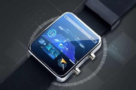 gprs: modern technology, object, navigation and media concept - close up of black smart watch with gps navigator map on screen