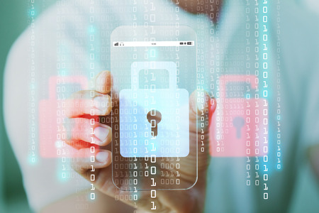 business, technology, security, protection and people concept - close up of male hand holding and showing transparent smartphone with lock icon and binary code hologram