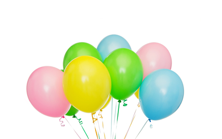 inflated: holidays, birthday, party and decoration concept - bunch of inflated colorful helium balloons Stock Photo