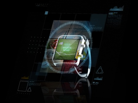 sport object: modern technology, internet, object and media concept - close up of black smart watch with sport news application an virtual screen projection