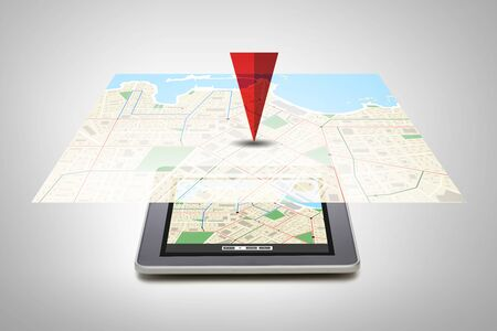 gprs: technology, navigation, location and gadget concept - close up of tablet pc computer with gps navigator map on screen over gray background