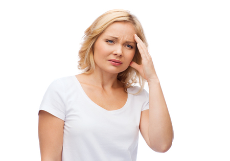 megrim: people, healthcare, stress and problem concept - unhappy woman suffering from headache Stock Photo