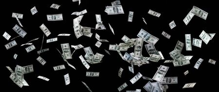 dinero volando: negocios, las finanzas, los residuos y el concepto - cerca de nosotros dinero del d�lar volando sobre fondo negro
