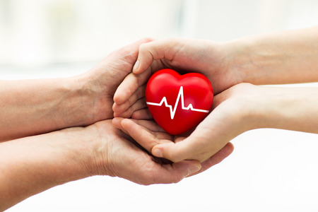 charity, health care, donation and medicine concept - man hand giving red heart with cardiogram to woman Stock Photo