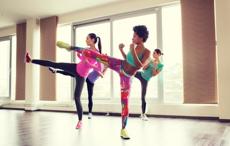 fitness training: fitness, sport, training, gym and martial arts concept - group of women working out and fighting in gym Stock Photo