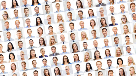 collage people: success concept - collage with many business people portraits Stock Photo
