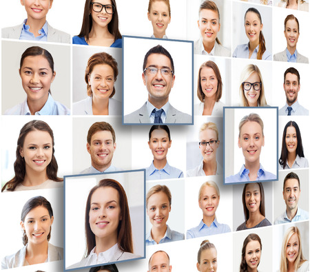 recursos humanos, gestión de la carrera, el reclutamiento y el concepto de éxito - collage con muchos retratos de personas de negocios