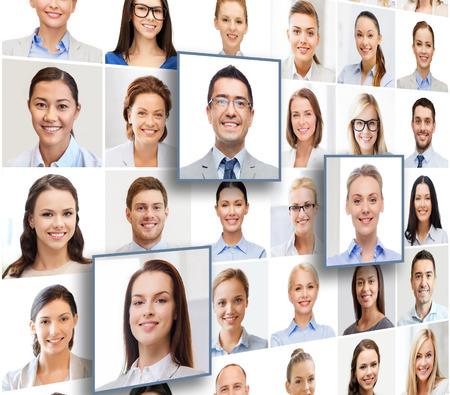 ressources humaines, gestion de carrière, le recrutement et la réussite concept - collage avec de nombreux portraits de gens d'affaires