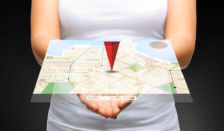 people, navigation, location and technology concept - close up of womans cupped hands showing 3d gps navigator map