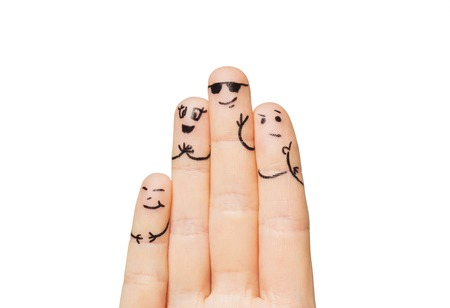 two hands: gesture, family, people and body parts concept - close up of two hands showing fingers with smiley faces