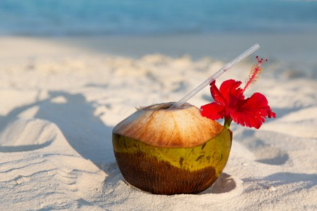 summer holidays: travel, tourism, vacation and summer holidays concept - coconut drink on exotic tropical maldives beach