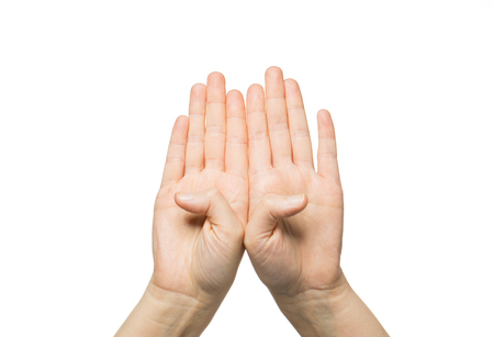 gesture, people and body parts concept - close up of two hands showing eight fingers