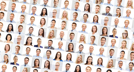 young entrepreneurs: success concept - collage with many business people portraits Stock Photo