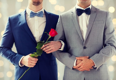 people, homosexuality, same-sex marriage and love concept - close up of happy male gay couple with red rose flower holding hands on wedding  over holidays lights background Stock Photo