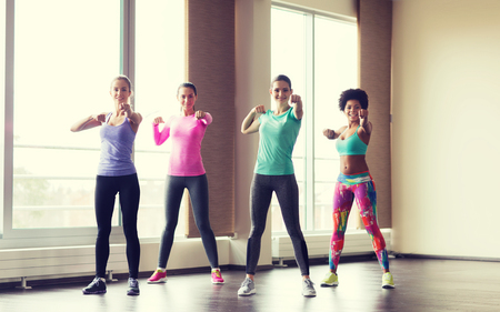 women working out: fitness, sport, training, gym and martial arts concept - group of happy women working out and fighting in gym Stock Photo