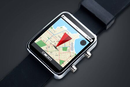 modern technology, object, navigation and media concept - close up of black smart watch with gps navigator map on screen