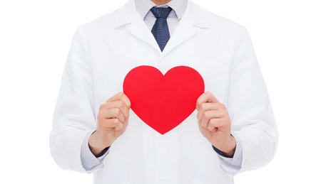 healthcare and medicine: healthcare and medicine concept - male doctor with red heart