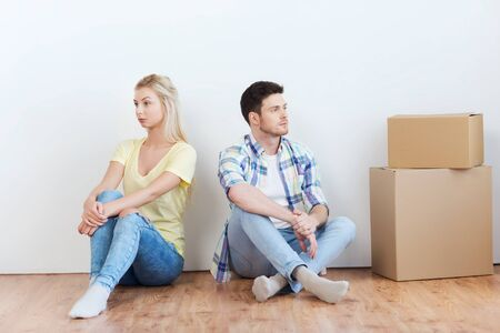difficulties: people, relationship difficulties, divorce, conflict and family concept - unhappy couple having argument or break up at home