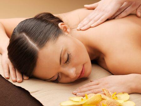 picture of calm beautiful woman in massage salon Stock Photo