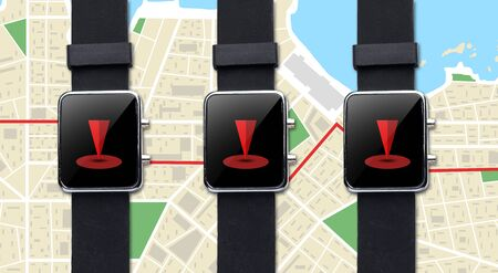 gprs: modern technology, navigation, location, object and media concept - close up of black smart watch with gps navigator map Stock Photo