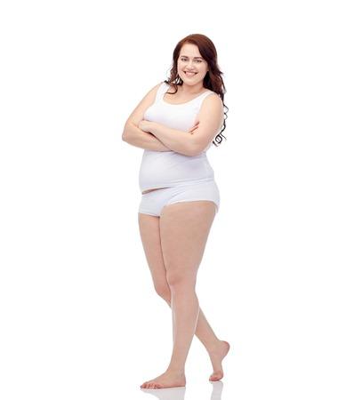 サイズと人々 の概念 - 幸せプラス サイズの女性下着